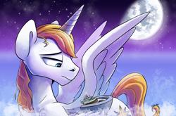 Size: 6022x3973 | Tagged: safe, artist:tsitra360, prince blueblood, alicorn, pony, canterlot, cloud, cloudy, giant alicorn, giant pony, king, macro, mega giant, moon, space, stars