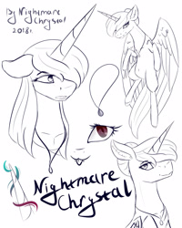 Size: 1728x2160 | Tagged: safe, artist:chrystal_company, oc, oc only, oc:nightmare chrystal, alicorn, pony, :p, alicorn oc, eye, eyes, horn, jewelry, lineart, necklace, partial color, reference sheet, tongue out, wings