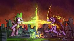 Size: 4813x2708 | Tagged: safe, artist:tsitra360, spike, twilight sparkle, dragon, beam struggle, city, destruction, fight, fire, giant dragon, macro, size difference, sparx the dragonfly, spyro the dragon
