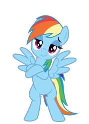 Size: 1600x2231 | Tagged: safe, artist:byteslice, rainbow dash, pegasus, pony, .svg available, bipedal, crossed arms, faic, female, head tilt, lidded eyes, looking at you, simple background, smiling, smug, smugdash, solo, spread wings, svg, transparent background, vector, wings
