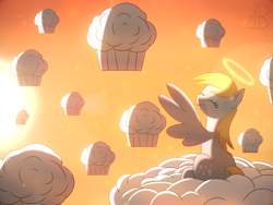 Size: 4000x3000 | Tagged: safe, artist:alexbefest, derpy hooves, pegasus, pony, cloud, cute, derpabetes, ear fluff, eyes closed, female, fluffy, food, halo, high res, muffin, sitting, sky, smiling, solo