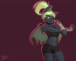 Size: 3824x3102 | Tagged: safe, artist:omegapex, oc, oc:ace moonlight, anthro, bat pony, abs, bandage, clothes, fangs, female, gray fur, green mane, gym shorts, gym uniform, muscles, muscular female, one eye closed, red eyes, shorts, slit pupils, sports bra, tail, tanktop, tight shorts, watermark, wings