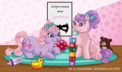 Size: 1024x608 | Tagged: safe, artist:honeykitten, sniffles, snookums, baby bottle, blocks, female, filly, g1, mouth hold, swedish, teddy bear, tongue out, toy, twins