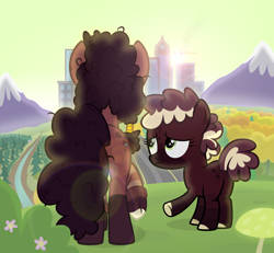 Size: 2300x2125 | Tagged: safe, artist:devfield, oc, oc only, oc:coffee blend, oc:ginger, autumn, building, bush, city, cityscape, clock, clothes, cloven hooves, commission, crane, different muzzle colour, female, filly, flower, glow, glowing mushroom, green sky, hair accessory, hill, jewelry, lens flare, messy mane, mother and child, mother and daughter, mountain, mushroom, outdoors, pine tree, raised hoof, rear view, river, road, scenery, show accurate, sky, snow, spots, sweater, tree, two toned mane, two toned tail, window, worried
