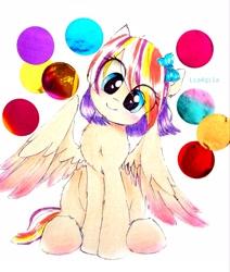 Size: 2281x2692   Tagged: safe, artist:liaaqila, oc, oc only, oc:qilala, confetti, cute, head tilt, ocbetes, simple background, solo, traditional art, white background