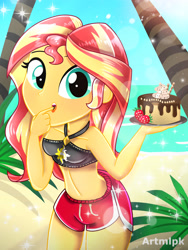 Size: 1800x2400 | Tagged: safe, artist:artmlpk, clear sky, sunset shimmer, equestria girls, adorable face, adorasexy, adorkable, alternate hairstyle, bare chest, beach, beautiful, beautisexy, bikini, bikini top, blushing, board shorts, cake, chocolate, chocolate cake, clothes, cute, dessert, digital art, dork, finger in mouth, food, fruit, licking, looking at you, multicolored hair, ocean, palm tree, plants, plate, sand, sexy, shimmerbetes, shorts, side slit, sky, sleeveless, solo, sparkles, strawberry, swimsuit, teal eyes, thighs, tongue out, tree, water, watermark, yellow skin