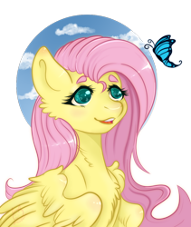 Size: 800x950   Tagged: safe, artist:vollight, fluttershy, butterfly, pegasus, pony, bust, cheek fluff, chest fluff, female, heart eyes, looking at something, looking up, mare, open mouth, partial background, portrait, simple background, sky, smiling, solo, spread wings, stray strand, three quarter view, transparent background, wingding eyes, wings
