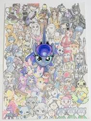 Size: 1192x1573 | Tagged: safe, artist:marusama0615, captain celaeno, princess luna, songbird serenade, tempest shadow, my little pony: the movie, anime, assassination classroom, chloe bourgeois, chloé bourgeois, crossover, daisy duck, descendants, detailed, disney, elsa, frozen, frozen (movie), hades, jack skellington, jewelpet, judy hopps, kimetsu no yaiba, korosensei, luka couffaine, maleficent, minnie mouse, miraculous ladybug, nick wilde, perry the platypus, phineas and ferb, sega, shinobu kocho, star wars, the cat returns, traditional art, zootopia