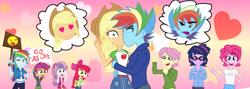 Size: 8266x2954 | Tagged: safe, artist:urhangrzerg, apple bloom, applejack, fluttershy, pinkie pie, rainbow dash, scootaloo, sweetie belle, twilight sparkle, equestria girls, appleblitz (straight), appledash, bubble berry, butterscotch, cutie mark crusaders, dusk shine, female, half r63 shipping, kissing, male, r63 paradox, rainbow blitz, rule 63, sci-dusk, shipping, straight