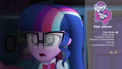 Size: 4096x2304 | Tagged: safe, artist:aryatheeditor, sci-twi, twilight sparkle, equestria girls, bowtie, bust, game, gameplay, glasses, heterochromia, jewelry, logo, outfit, pendant, powerful sparkle, sad, solo