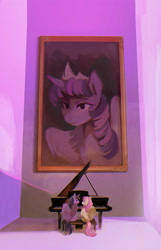Size: 1200x1868 | Tagged: safe, artist:dearmary, fluttershy, twilight sparkle, alicorn, pegasus, pony, female, lesbian, musical instrument, painting, piano, shipping, twilight sparkle (alicorn), twishy