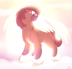 Size: 1816x1745 | Tagged: safe, artist:onecoolmule, oc, oc:cooper, oc:locosaltinc, angel, cloud, cloudy, crepuscular rays, female, heaven, locosaltinc, looking at you, looking down, looking down at you, mare, natural fur color, rest in peace, sky background, smiling, spread wings, thoroughbred, wings