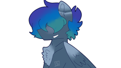 Size: 2560x1440 | Tagged: safe, artist:shinningblossom12, oc, oc:kiim, pegasus, pony, bust, chest fluff, grin, hair over eyes, male, pegasus oc, simple background, smiling, solo, stallion, transparent background, wings