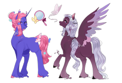 Size: 1275x874 | Tagged: safe, artist:bunnari, oc, oc only, pegasus, pony, unicorn, female, magical lesbian spawn, mare, offspring, parent:fluttershy, parent:king sombra, parent:twilight sparkle, parents:sombrashy, parents:twishy, simple background, transparent background, two toned wings, unshorn fetlocks, wings