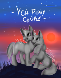 Size: 3000x3800 | Tagged: safe, artist:tehtigress, any gender, auction, auction open, commission, couple, cute, full body, hug, sunset, your character here