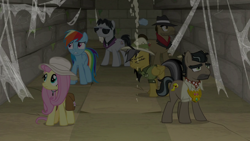 Size: 1920x1080 | Tagged: safe, screencap, biff, daring do, doctor caballeron, fluttershy, rainbow dash, withers, daring doubt, henchmen, truth talisman