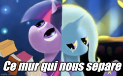 Size: 632x395   Tagged: artist needed, safe, trixie, twilight sparkle, female, french, lesbian, miraculous ladybug, shipping, song reference, text, translated in the comments, twixie
