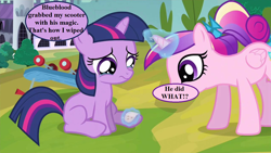 Size: 1280x720 | Tagged: safe, edit, edited screencap, screencap, princess cadance, twilight sparkle, a canterlot wedding, bandaid, bow, canterlot, crying, dialogue, female, filly, filly twilight sparkle, implied blueblood, magic, magic aura, scooter, speech bubble, tail bow, younger