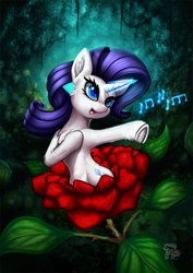 Size: 935x1323 | Tagged: safe, artist:calena, rarity, alraune, unicorn, beautiful, chest fluff, cute, daaaaaaaaaaaw, featured image, female, flower, forest, frog (hoof), glowing horn, hnnng, horn, magic, music notes, painting, plant, raribetes, rarity being rarity, rose, singing, solo, sweet dreams fuel, underhoof