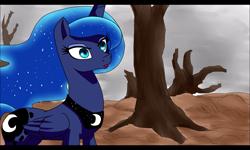 Size: 800x480 | Tagged: safe, artist:yordisz, princess luna, alicorn, cloud, cloudy, dead trees, desert, fanfic art, solo, tree