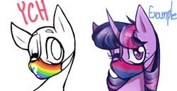 Size: 944x484 | Tagged: safe, artist:kaywhitt, twilight sparkle, pony, bi-twi, bisexual, bisexual pride flag, bust, commission, face mask, pride, pride flag, ych example, your character here