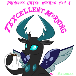 Size: 1000x1000   Tagged: safe, artist:alilunaa, thorax, oc, oc:princess chase, changedling, changeling, coffee, king thorax, male, simple background, solo, texcellent morning, transparent background