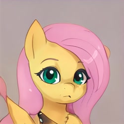 Size: 1024x1024 | Tagged: safe, artist:thisponydoesnotexist, pegasus, pony, female, looking at you, mare, neural network, not fluttershy, simple background, solo, wingding eyes