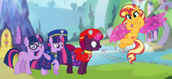 Size: 2340x1080 | Tagged: safe, artist:徐詩珮, fizzlepop berrytwist, sci-twi, sunset shimmer, tempest shadow, twilight sparkle, alicorn, pony, unicorn, series:sprglitemplight diary, series:sprglitemplight life jacket days, series:springshadowdrops diary, series:springshadowdrops life jacket days, equestria girls, alternate universe, base used, chase (paw patrol), clothes, cute, equestria girls ponified, female, lesbian, marshall (paw patrol), paw patrol, shipping, tempestlight, twilight sparkle (alicorn), twolight, unicorn sci-twi