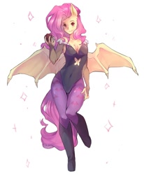 Size: 1280x1554 | Tagged: safe, artist:xvaleox, fluttershy, bat pony, human, apple, bat ponified, bat wings, breasts, clothes, darkstalkers, eared humanization, female, flutterbat, food, humanized, leotard, morrigan aensland, pony coloring, race swap, solo, tailed humanization, thong leotard, winged humanization, wings