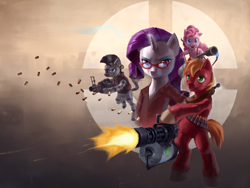 Size: 1600x1200 | Tagged: safe, alternate version, artist:stupjam, big macintosh, pinkie pie, rarity, zecora, earth pony, pony, unicorn, zebra, artifact, bipedal, clothes, colored pupils, crossover, democora, demoman, female, flamethrower, frown, glare, grenade launcher, heavy mac, heavy weapons guy, male, mare, minigun, open mouth, pinkie pyro, pyro, rarispy, rarity's glasses, shooting, smiling, spy, stallion, straw in mouth, team fortress 2, wallpaper, weapon