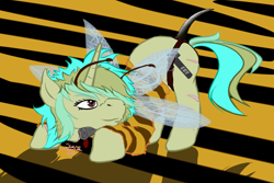 Size: 1200x800 | Tagged: safe, artist:scoundrel scaramouche, oc, oc:piper, bee, insect, pony, unicorn, owner:brainiac