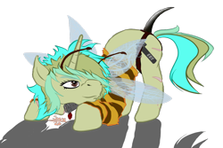 Size: 1200x800 | Tagged: safe, artist:scoundrel scaramouche, oc, oc:piper, bee, insect, pony, unicorn, female, mare, mwah, png