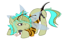 Size: 1200x800 | Tagged: safe, artist:scoundrel scaramouche, oc, oc:piper, bee, insect, pony, unicorn, colored, flat colors, owner:brainiac, png