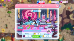 Size: 1280x720 | Tagged: safe, screencap, princess eris, stygian, trixie, unicorn, game screencap, gameloft, the dark horse, the great and powerful roxy