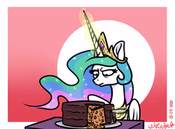 Size: 5401x4000 | Tagged: safe, artist:poecillia-gracilis19, princess celestia, alicorn, baked beans, beans, cake, celestia is not amused, crown, ethereal mane, everything is cake, female, food, glowing horn, horn, jewelry, knife, mare, meme, regalia, the cake is a lie, this will end in farts, this will end in tears and/or a journey to the moon, unamused
