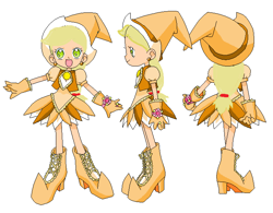 Size: 700x546 | Tagged: safe, artist:royaleanimequeen, applejack, human, equestria girls, anime, base used, boots, clothes, crossover, digital art, doremi, ear piercing, earring, gloves, hat, hazuki fujiwara, humanized, jewelry, magical doremi, ojamajo doremi, open mouth, piercing, shoes, witch, witch apprentice, witch costume, witch hat, witchling