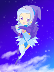 Size: 768x1024 | Tagged: safe, artist:magical-mama, artist:royaleanimequeen, trixie, human, equestria girls, anime, boots, clothes, crossover, doremi, gloves, hat, humanized, magical doremi, ojamajo doremi, shoes, smiling, trixie's hat, witch, witch apprentice, witch costume, witch hat, witchling