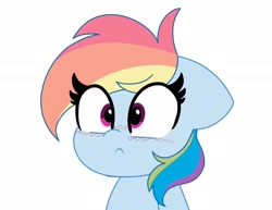 Size: 2048x1579 | Tagged: safe, artist:kittyrosie, rainbow dash, pegasus, pony, :c, blushing, bust, cute, dashabetes, female, floppy ears, frown, mare, portrait, simple background, solo, surprised, white background, wide eyes