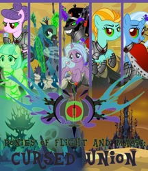 Size: 1024x1185 | Tagged: safe, artist:alphamonouryuuken, idw, coco pommel, king sombra, lightning dust, queen chrysalis, radiant hope, suri polomare, trixie, fanfic, fanfic art, fanfic cover