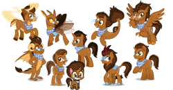Size: 4600x2400 | Tagged: safe, artist:imperfectxiii, artist:orin331, oc, oc only, oc:copper plume, changedling, changeling, classical hippogriff, crystal pony, deer, dragon, hippogriff, kirin, reindeer, seapony (g4), unicorn, my little pony: pony life, my little pony: the movie, :t, antlers, brown changeling, changedlingified, changelingified, commission, commissioner:imperfectxiii, crystallized, curved horn, deerified, dragonified, fins, flying, freckles, generation leap, glasses, grin, hand on hip, hippogriffied, horn, kirin-ified, movie accurate, multeity, napkin, neckerchief, open mouth, reindeerified, seaponified, simple background, smiling, solo, species swap, transparent background, vector, wings