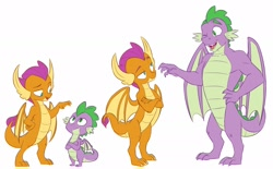 Size: 1920x1192 | Tagged: safe, artist:chub-wub, smolder, spike, dragon, :/, crossed arms, dragoness, fangs, female, gigachad spike, growth spurt, height difference, implied spolder, male, older, older smolder, older spike, one eye closed, simple background, white background, winged spike, wings, wink