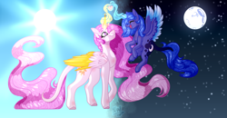Size: 5980x3108 | Tagged: safe, artist:nexywhite, princess celestia, princess luna, alicorn, colored wings, colored wingtips, day, eyes closed, female, filly, flying, glowing horn, happy, heart, horn, leonine tail, mare, moon, night, pink-mane celestia, royal sisters, signature, smiling, stars, sun, woona, younger