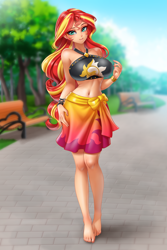 Size: 3333x5000 | Tagged: safe, artist:racoonsan, sunset shimmer, equestria girls, anime, barefoot, barefooting, beautiful, beautisexy, bedroom eyes, belly button, big breasts, bikini, black swimsuit, breasts, busty sunset shimmer, clothes, commission, cutie mark swimsuit, eyeshadow, feet, female, human coloration, jeweled swimsuit, looking at you, makeup, sarong, sexy, shirt, skirt, stupid sexy sunset shimmer, summer sunset, swimsuit