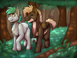 Size: 1366x1024 | Tagged: safe, artist:sursiq, oc, oc:moose tracks, earth pony, pegasus, pony, blue, brown, camera, closed mouth, commission, cute, dappled sunlight, eyes closed, full body, oc x oc, open mouth, scenery, shipping, walking, wholesome, yellow eyes