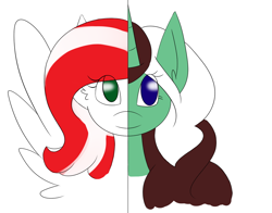 Size: 1000x785 | Tagged: safe, artist:kaggy009, oc, oc:peppermint pattie, oc:peppermint pattie (unicorn), pegasus, pony, unicorn, ask peppermint pattie, duality, female, mare