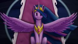 Size: 3840x2160 | Tagged: safe, artist:tenebrisnoctus, twilight sparkle, alicorn, the last problem, crown, doodle, jewelry, older, older twilight, princess twilight 2.0, regalia, sitting, spread wings, twilight sparkle (alicorn), wings