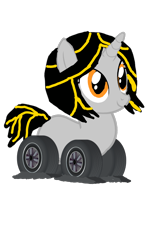 Size: 720x1199 | Tagged: safe, alternate version, artist:electrahybrida, derpibooru exclusive, oc, oc:electra hybrida, original species, unicorn, wheelpone, flat tire, simple background, transparent background, wheel