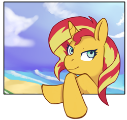 Size: 993x940 | Tagged: safe, artist:wild-thunder06, sunset shimmer, unicorn, beach, looking at you, solo, waiting