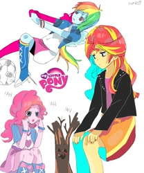 Size: 1000x1200 | Tagged: safe, artist:nerumamoru, pinkie pie, rainbow dash, sunset shimmer, equestria girls, anime, football, laughter song, sports, surprised, tree