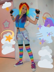 Size: 768x1024 | Tagged: safe, artist:bunnyoxo, rainbow dash, human, clothes, converse, cosplay, costume, irl, irl human, my little pony cafe, photo, rainbow socks, shoes, socks, striped socks, thigh highs, wings